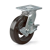 "8"" Dia. x 2""W Rubber on Steel Wheel - Economical Caster - Swivel"