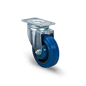 "Dolly Replacement Casters - 4"" Dia. x 1-3/8""W Blue Rubber Wheel - 330 Lb. Capacity"