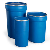 "Open-Head Plastic Drums - 47 Gallon Capacity - 23.8"" Dia. x 33.1""H"