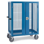 "Relius Elite Wire Security Truck - 60"" Wx30"" Dx60"" H - 8"" Gray Non-Marking Rubber Casters - Blue"