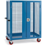 "Relius Elite Wire Security Truck - 48"" Wx24"" Dx60"" H - 5"" Poly Casters - Blue"