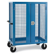 "Relius Elite Wire Security Truck - 48"" Wx24"" Dx60"" H - 8"" Black Mold-on Rubber Casters - Blue"