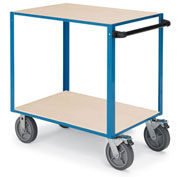 "Relius Elite General-Purpose Utility Cart - Wood Shelves - 8"" Gray non-marking rubber"