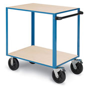 "Relius Elite General-Purpose Utility Cart - Wood Shelves - 8"" Black mold-on rubber"