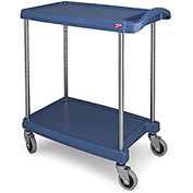 "Metro myCart™ Two-Shelf Utility Cart with Chrome-Plated Posts - 25x18"" Shelves-Blue"