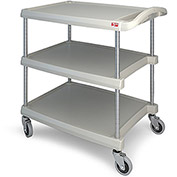 "Metro myCart™ Three-Shelf Utility Cart with Chrome-Plated Posts - 28x23"" Shelves Gray"