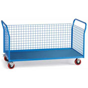 "Relius Elite Premium All-Welded Platform Trucks 3 Wire Side Panels 48'Wx24""D Deck 5"" Casters"