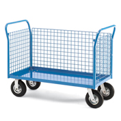 "Relius Elite Premium All-Welded Platform Trucks 3 Wire Side Panels 48'Wx24""D Deck 8"" Rubber Casters"