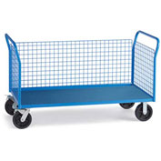 "Relius Elite Premium All-Welded Platform Trucks 3 Wire Side Panels 60'Wx30""D Deck 8"" Rubber Casters"