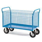 "Relius Elite Premium All-Welded Platform Trucks 4 Wire Side Panels 48'Wx24""D Deck 5"" Casters"