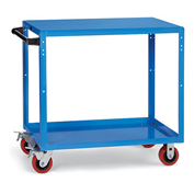 "Premium Flush-Shelf Shop Cart - 48"" Wx24"" D Shelves - 5"" Polyurethane Casters - Blue"