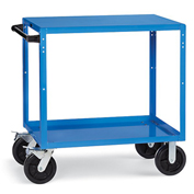 "Premium Flush-Shelf Shop Cart 48"" Wx24"" D Shelves 8"" Black Mold-On Rubber Casters Blue"