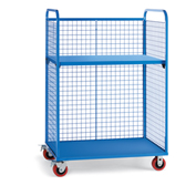 "Wire Cage Trucks - Steel Shelf - 5"" Polyurethane Casters - 45"" Wx24"" D Shelf - Blue"