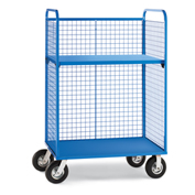 "Wire Cage Trucks - Steel Shelf - 8"" Pneumatic Casters - 45"" Wx24"" D Shelf - Blue"
