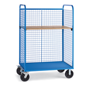 "Wire Cage Trucks - Wood Shelf - 8"" Mold-On Rubber Casters - 45"" Wx24"" D Shelf - Blue"