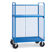 "Wire Cage Trucks - Steel Shelf - 8"" Mold-On Rubber Casters - 45"" Wx30"" D Shelf - Blue"