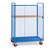 "Wire Cage Trucks - Wood Shelf - 5"" Polyurethane Casters - 57"" Wx30"" D Shelf - Blue"