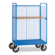 "Relius Elite Wire Cage Trucks - Wood Shelf - 8"" Pneumatic Casters - 57"" Wx30"" D Shelf - Blue"