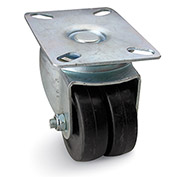 Albion Plate Caster - Dual Hard Rubber Wheel with Delrin Bearing - 200-lb. Capacity
