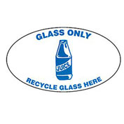 Techstar Bullseye Oval Labels For Recycling Containers - Glass Only