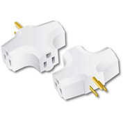 Century® D10102002 90 Degree Triple Tap Adapter, 15 Amps, white