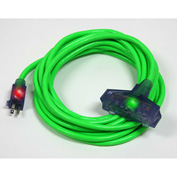 Pro Glo® D17224025 Triple Tap Extension Cord With 25 ft Cord, 12/3 Awg Sz, Green
