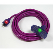 Pro Glo® D17229050 Triple Tap Extension Cord With 50 ft Cord, 12/3 Awg Sz, Purple
