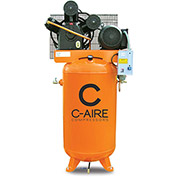 C-AIRE A075V080-3460 Two Stage Air Compressor, 7.5 HP, 460V, 3PH, 80 Gal. Vertical Tank