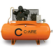 C-AIRE A100H120-3230FP Two Stage Air Compressor-FP, 10 HP, 230V, 3PH, 120 Gal. Horizontal Tank