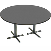 "Correll Round Bar Table 60"" x 60"" x 29"" with Black Granite Top & Dual Pedestal Black Cross Base"