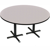 "Correll Round Bar Table 60"" x 60"" x 29"" with Gray Granite Top & Dual Pedestal Black Cross Base"