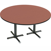 "Correll Round Bar Table 60"" x 60"" x 29"" with Cherry Top & Dual Pedestal Black Cross Base"