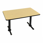 "Correll Rectangular Bar Table 30"" x 60"" x 29"" with Fusion Maple Top & Dual Pedestal Black T-Base"