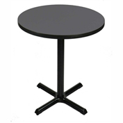 "Correll Bistro Height Round Pedestal Bar Table 24"" Dia x 42""H with Black Granite Top & Cross Base"