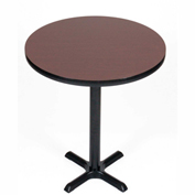 """Correll Bistro Height Round Pedestal Bar Table 24"""" Dia x 42""""H with Cherry Top & Black Cross Base"""