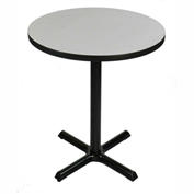 "Correll Bar Table - 30"" Dia x 42""H - Laminate w/ Gray Granite Top & Black Cross Base"