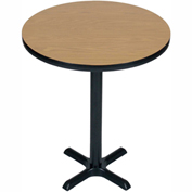 "Correll Bistro Height Round Pedestal Bar Table 36"" Dia x 42""H with Medium Oak Top & Black Cross Base"