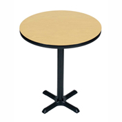 "Correll Bistro Height Round Pedestal Bar Table 36"" Dia x 42""H w/ Fusion Maple Top & Black Cross Base"