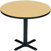 "Correll Round Bar Table 24"" x 24"" x 29"" with Fusion Maple Top & Black Cross Base"