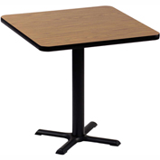 "Correll Square Bar Table 24"" x 24"" x 29"" with Medium Oak Top & Black Cross Base"