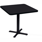 "Correll Square Bar Table 36"" x 36"" x 29"" with Black Granite Top & Black Cross Base"