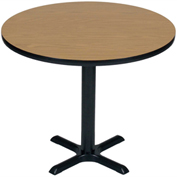 "Correll Round Bar Table 42"" x 42"" x 29"" with Medium Oak Top & Black Cross Base"