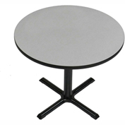 """Correll Round Bar Table 42"""" x 42"""" x 29"""" with Gray Granite Top & Black Cross Base"""