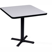 """Correll Square Bar Table 42"""" x 42"""" x 29"""" with Gray Granite Top & Black Cross Base"""