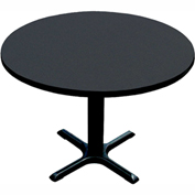 "Correll Round Bar Table 30"" x 48"" x 29"" with Black Granite Top & Black Cross Base"