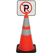 "Cone Sign - No Parking, 13"" x 11"", Black on Orange - Pkg Qty 5"