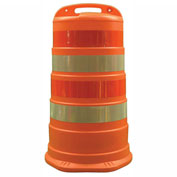 "Cortina Traffic Barrel Drum With (4) 4"" Diamond Grade Reflective Stripes, HDPE, 03-780-4FP"