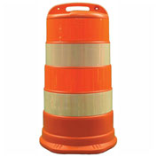"Cortina Traffic Barrel Drum With (4) 6"" Diamond Grade Reflective Stripes, HDPE, 03-780-6FP"