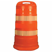 "Cortina Traffic Barrel Drum With (4) 4"" Diamond Grade Reflective Stripes, LDPE, 03-782-4FP"