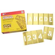 "6"" Brass Interlocking Stencil Letters and Numbers, 45 Piece Set"